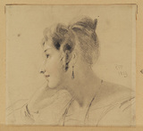 Portrait of a young woman in profile