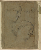 Two studies of the head of a woman, and sketch of a foot
