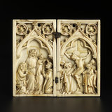 Ivory diptych with the Virgin and Child and The Crucifixion