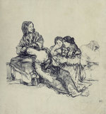 Group with a sleeping woman