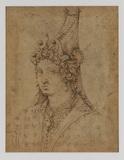 Bust of a woman wearing a fantastic head-dress