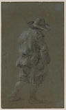 Peasant in sheepskin tunic, full-length, walking, back view to the right