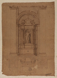 Plan and elevation for an altar, incorporating a niche with a statue of a saint