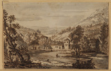 Landscape with buildings by a river