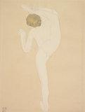 Dancer holding her leg behind her head, seen from behind (Alda Moreno?)