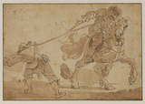 Combat between a horseman and foot soldier