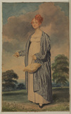 Portrait of a young lady standing in a landscape