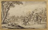 Peasants and carts moving along a road