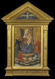 Virgin and Child enthroned, with Saints Anthony Abbot and Julian and a donor (pediment above - Holy Ghost)