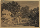 Wooded landscape with classical figures