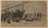 Boats and fishermen on the beach, Berck