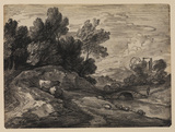 Landscape with sheep and cattle on the bank of a stream
