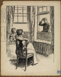 Illustration to 'The Entrance of Tobias - man raising his hat in greeting to two ladies