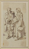 Man leaning on a stick and a peasant girl