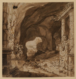 Interior of a cave with ruins of monuments