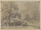 Landscape with group of figures (recto)
