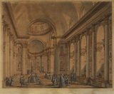Interior of the Redentore, Venice, with figures