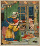 Illustration for 'The Elves and the Shoemaker' - shoemaker and his wife watching the arrival of naked elves