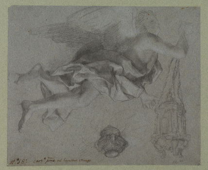 Angel swinging a censer, and study of a censer
