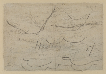 Sketch (undecipherable, possibly hills or clouds) (verso)