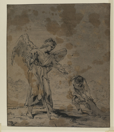 Tobias and the Angel - Tobias hauling a fish