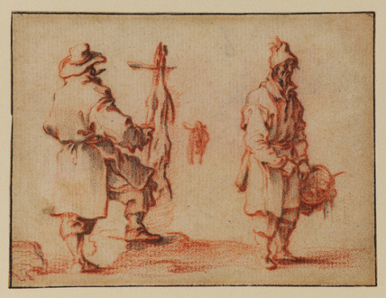 Two street traders, one with a basket and the other standing by a carcass (recto)