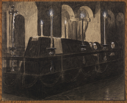 Scene in a candle-lit vault, with three nuns at prayer at the foot of a coffin