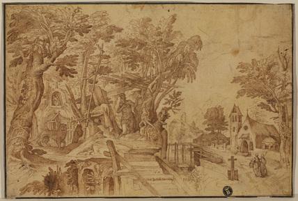 Saint Jerome in a landscape (recto)