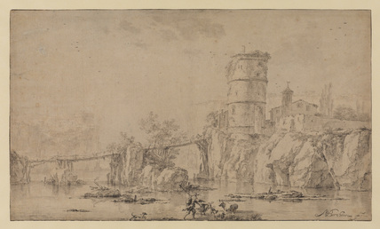 Italian landscape with river, bridge and tower