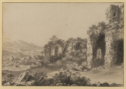 Landscape with ruins (recto)
