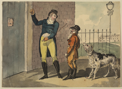 The Visit - two men and a large dog waiting outside a door