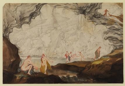 Women bathing by a grotto in rocky landscape (recto)