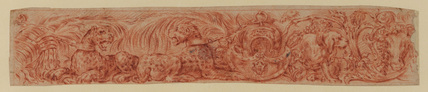 Decorative frieze with animals and foliage