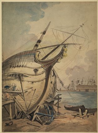 Men working on the prow of a boat
