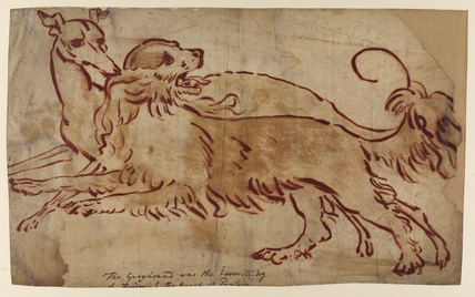 Two hounds - line study for 'Portrait of Queen Charlotte' (Courtauld Gallery) (verso)