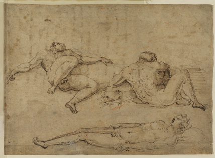 Studies of three nude male figures (recto)