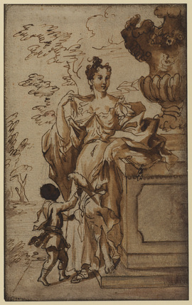 Lady standing against an ornamental vase