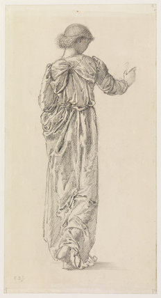 Draped female figure, full-length, back view