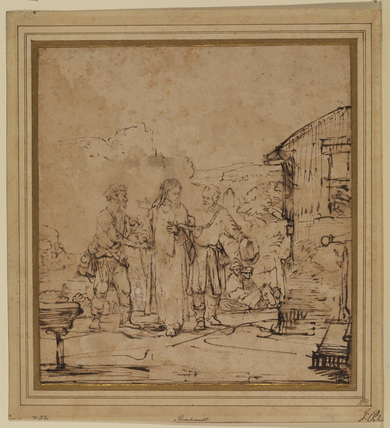 Christ and the two disciples arriving at Emmaus