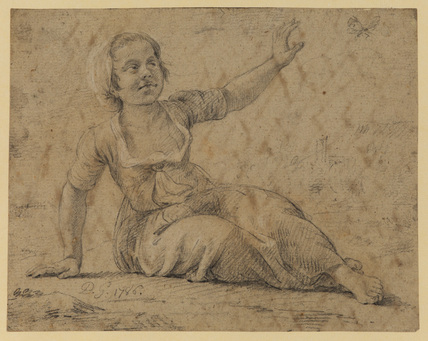 Young girl grasping at a butterfly (recto)