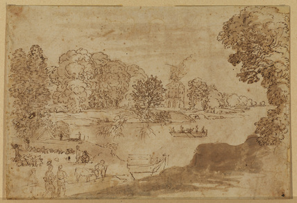 Landscape with river and encampment