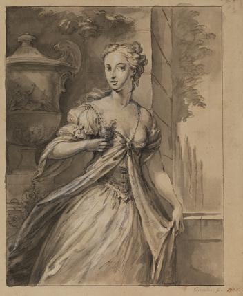 Three-quarter length portrait of a young lady