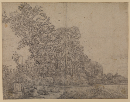 Landscape with a milkmaid and goats
