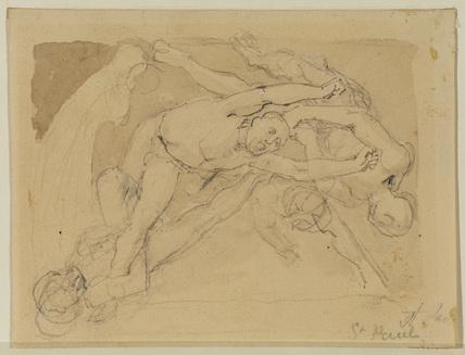 Nude figures of men falling (recto)