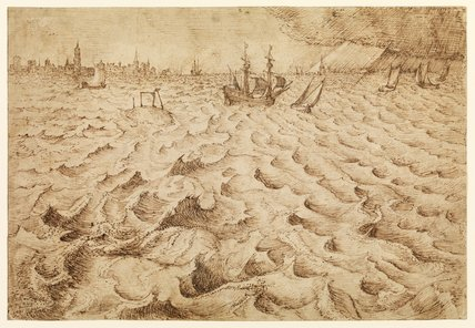 A storm in the River Schelde with a view of Antwerp