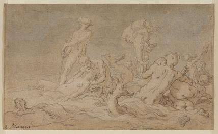 Mythological subject - figures in waves