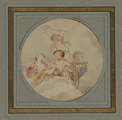Four cupids on a cloud