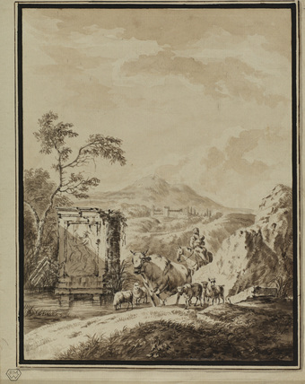 Landscape with animals and woman with child on horseback