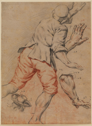 Study of a man running, an arm and a head with hat