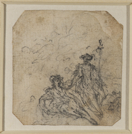 Two young ladies in a landscape